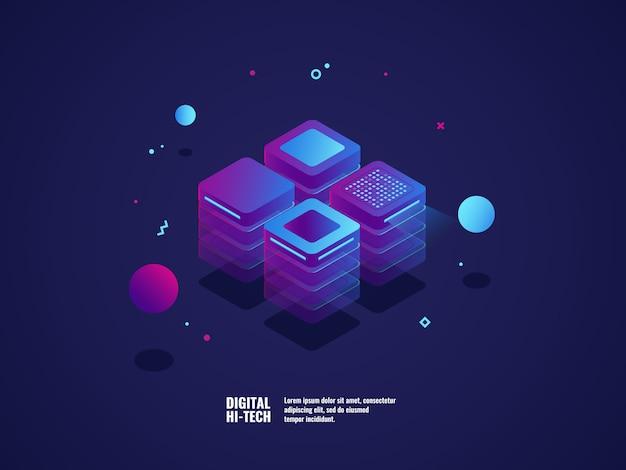 디지털 비즈니스 개념, 서버 룸, 데이터 센터 및 데이터베이스 아이콘, 기술 개체 무료 벡터