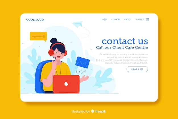 Digital business contact us landing page Free Vector