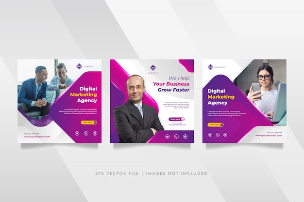デジタルビジネスマーケティング代理店のソーシャルメディアの投稿とwebバナー Premiumベクター
