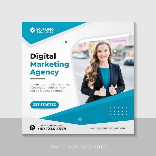 Цифровой бизнес-маркетинг баннер в социальных сетях или квадратный флаер Premium векторы