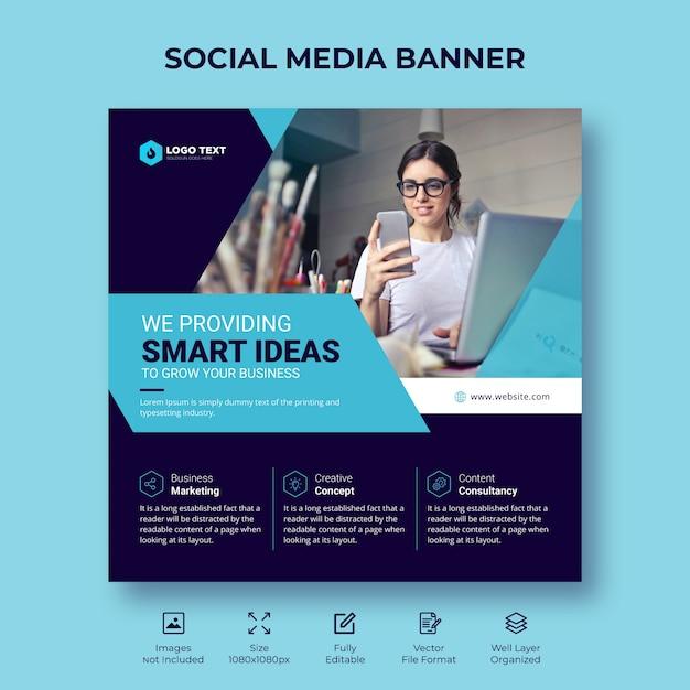 Digital business marketing social media banner or square flyer template design Premium Vector