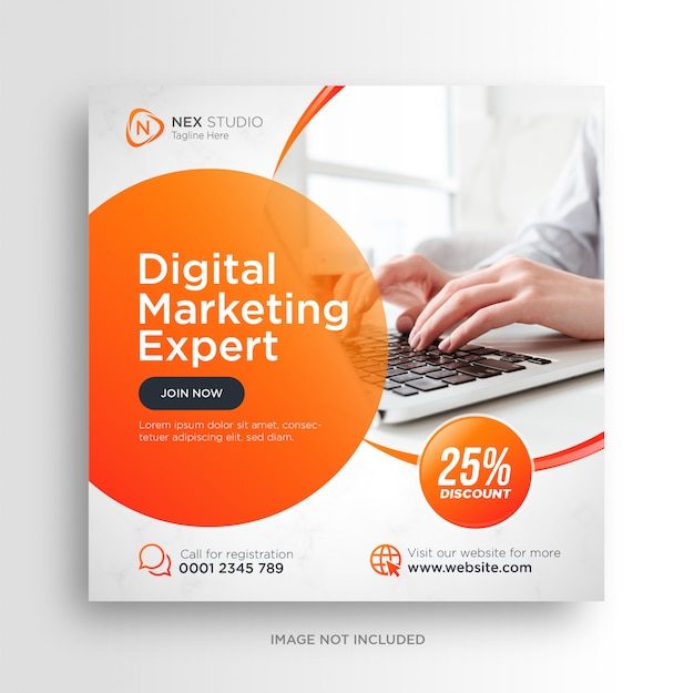 Digital business marketing social media banner square flyer Premium Vector
