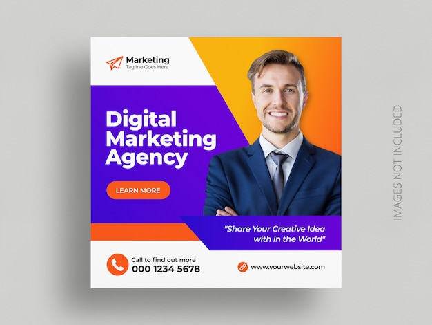 Digital business marketing social media post banner square flyer template Premium Vector