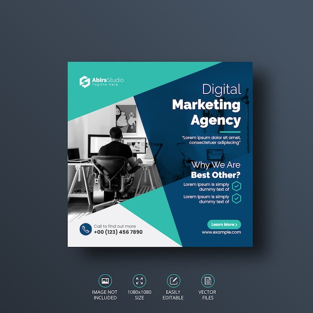 Digital Business Marketing Social Media Post Banner Template Premium Vector