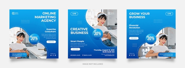 디지털 비즈니스 마케팅 소셜 미디어 게시물 템플릿 프리미엄 벡터