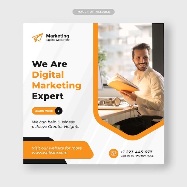 デジタルビジネスマーケティングのソーシャルメディア投稿とwebバナープレミアム Premiumベクター