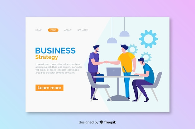 Digital business strategy landing page Free Vector