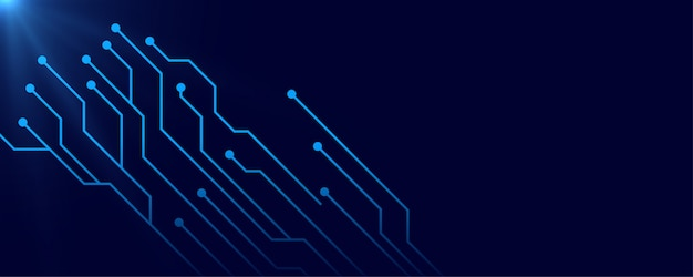 Digital circuit blue banner background with text space Free Vector