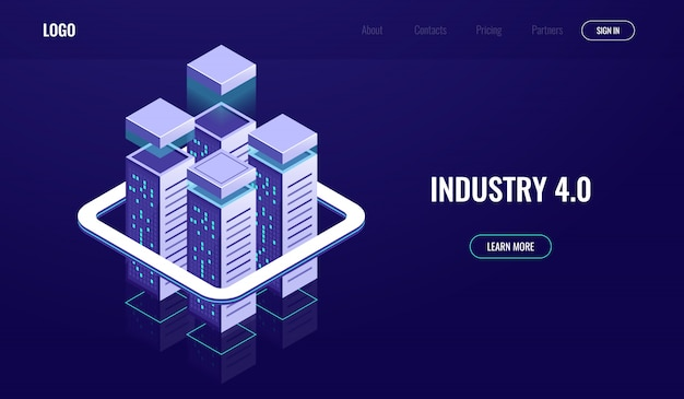 Digital city, isometric urban town, skyscrapers, cloud computing, cloud data storage Free Vector