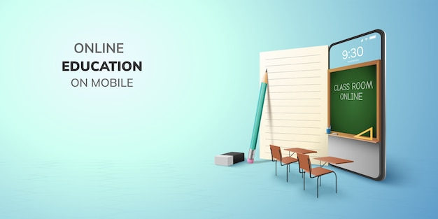 Digital classroom online education internet and blank space on phone, mobile website background. social distance concept. decor by book pencil eraser student desk table chair. 3d   illustration. Premium Vector