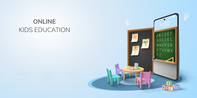Digital classroom online education kindergarten backto school concept. learning on phone, mobile website background. decor by blackboard kid, children student desk table chair. 3d   illustration. Premium Vector