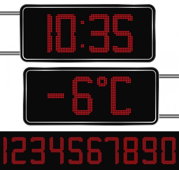 Digital clock and thermometer Premium Vector