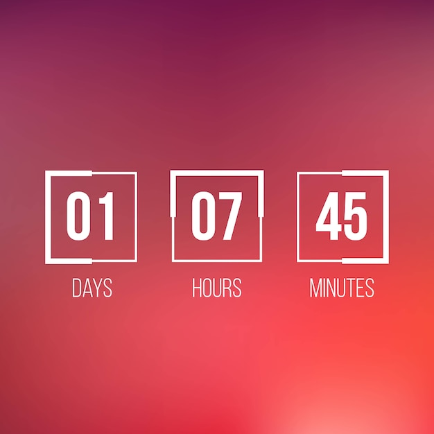Digital clock timer, countdown, coming soon. Premium Vector