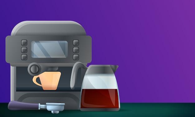 Digital coffee machine concept illustration, cartoon style Premium Vector
