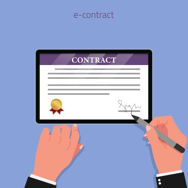 タブレット画面に署名された手でデジタル契約の概念 Premiumベクター