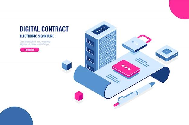 Цифровой контракт, электронная подпись Бесплатные векторы
