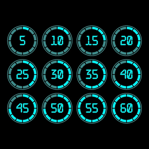 Digital countdown timer with five minutes interval in modern style. Premium Vector
