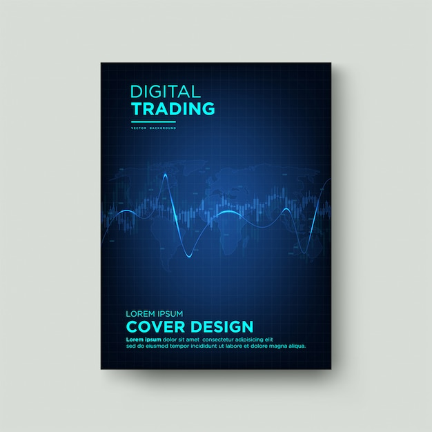 Digital cover trading. with a graphic illustration of a candle and a blue curved line on a dark background. Premium Vector