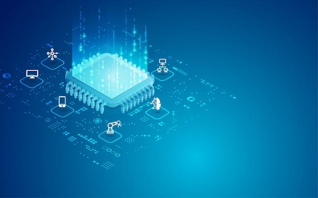 Digital cpu isometric Premium Vector