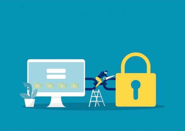 デジタル犯罪、マスクの犯罪者、のこぎりツールを使用した強盗、オンラインデータの盗難、イラスト Premiumベクター