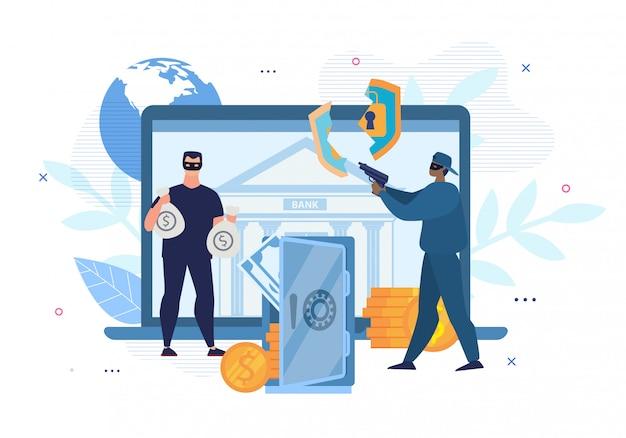 Digital crimes, hacking, e-bank account attack Premium Vector