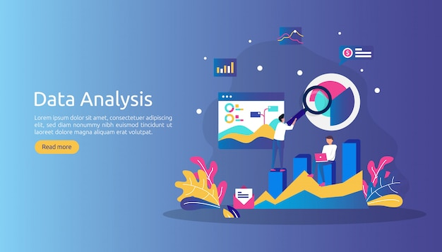 Digital data analysis concept for market research and digital marketing strategy. Premium Vector