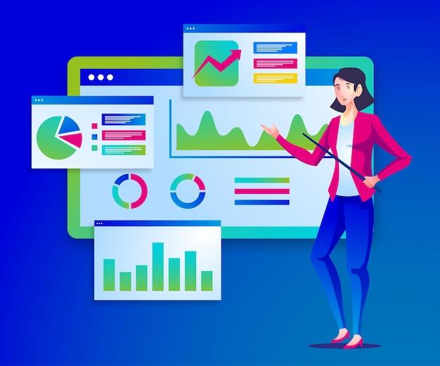 デジタルデータアナリストのプレゼンテーションの図 Premiumベクター