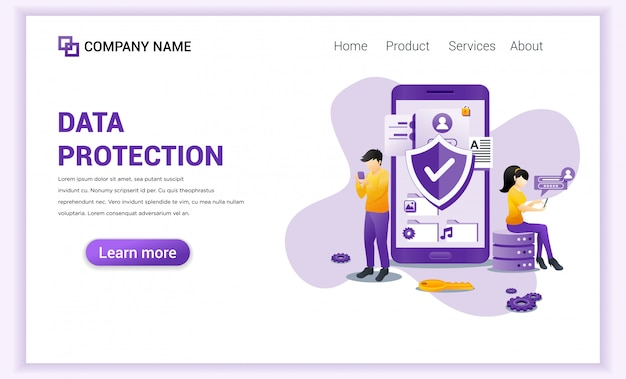Digital data protection  for landing page template. Premium Vector