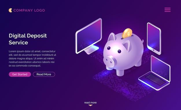 Digital deposit money service isometric concept Free Vector