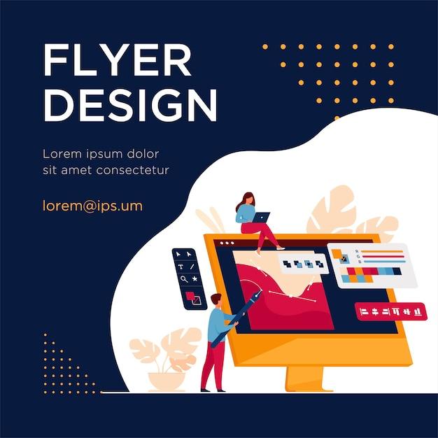 Команда цифровых дизайнеров рисует пером на мониторе компьютера. мужчина и женщины, работающие с графическим редактором. шаблон флаера Бесплатные векторы