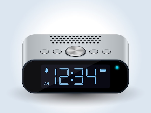Digital desktop clock realistic vector Premium Vector