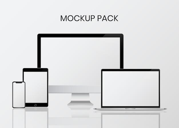 デジタル機器モックアップセット 無料ベクター