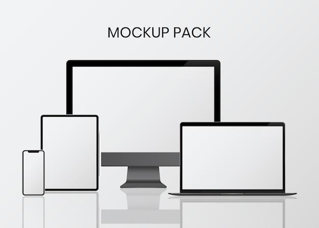 Digital device mockup set Free Vector