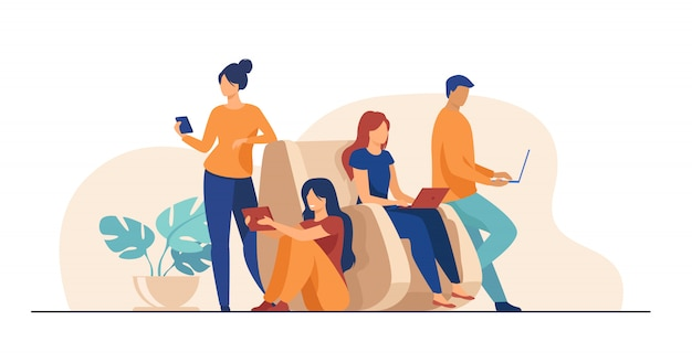 Digital device users spending time together Free Vector