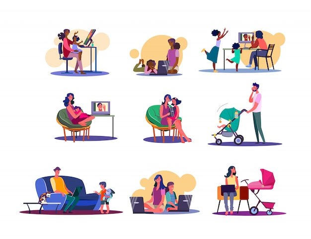 Digital devices for family set Free Vector