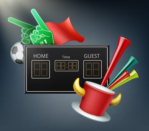 Display digitale e attributi dei fan con mani di schiuma, palla, bandiera, tromba e cappello con le corna Vettore gratuito