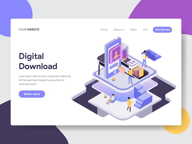 Digital download isometric illustration for web pages Premium Vector