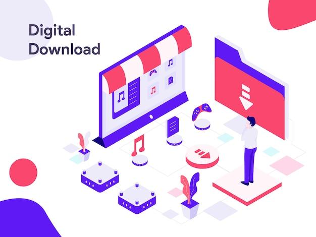 Digital download isometric illustration Premium Vector