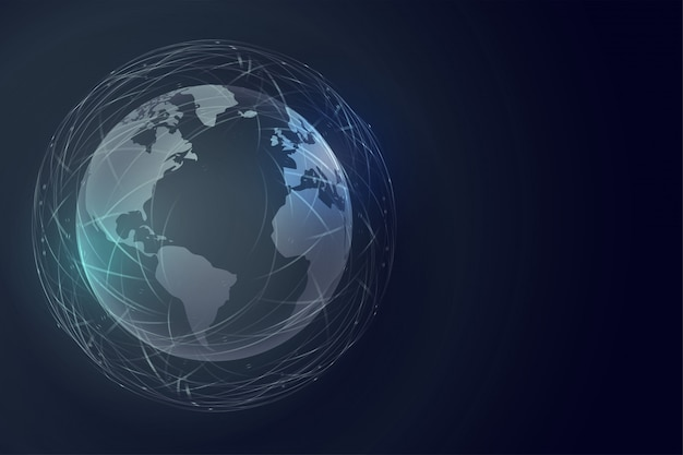 Digital earth technology background with global connection Free Vector