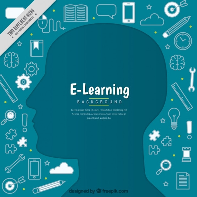 Digital education background with person\ silhouette