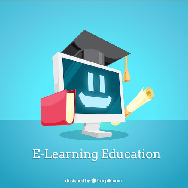 Digital education background with smiling computer | Free ...