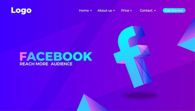デジタルfacebookマーケティングのランディングページのデザイン Premiumベクター