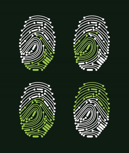 Digital fingerprint access granted Premium Vector