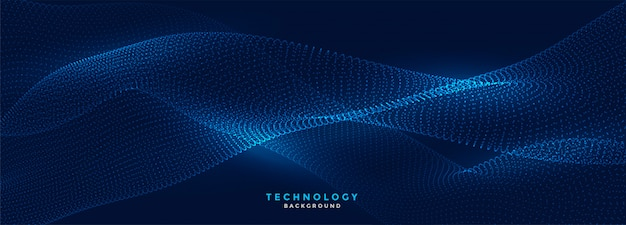 Digital flowing particles technology blue banner Free Vector