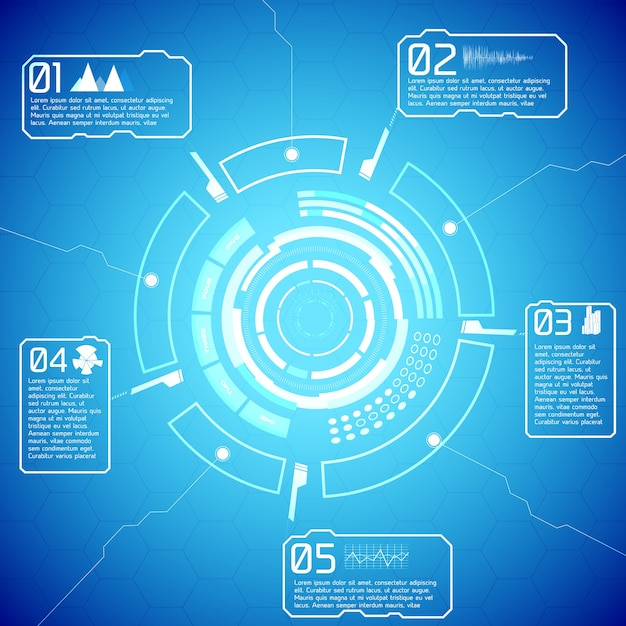 Digital futuristic interactive infographics with tech display text and icons on blue background Free Vector