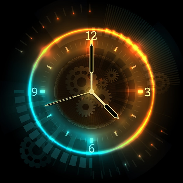 Digital futuristic watch with neon effects. time abstract vector concept with clock. time neon clock, watch abstract illustration Premium Vector