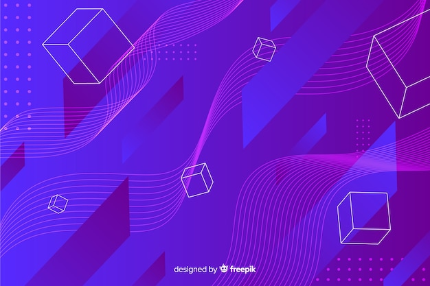 Digital geometric shapes background Free Vector