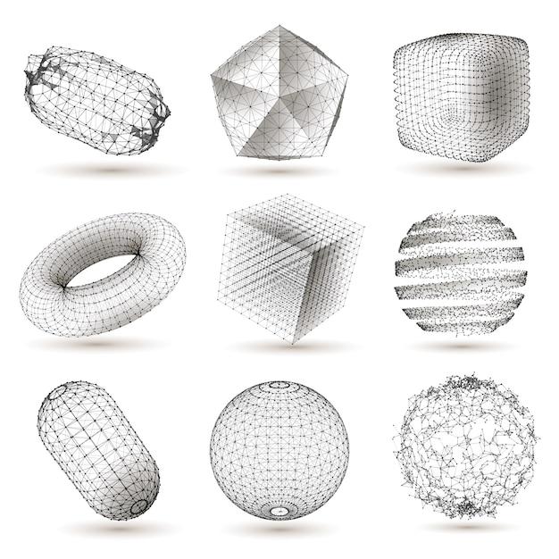 Digital geometric shapes set Premium Vector