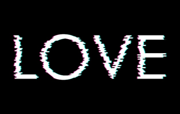 Digital glitch word love Premium Vector