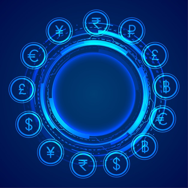 Digital global currency icons concept background Free Vector